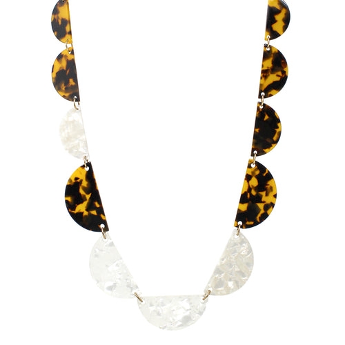 Tortoise Shell Textured Acetate Linked Necklace