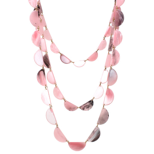 Half Disc Acetate Linked Triple Layered Necklace