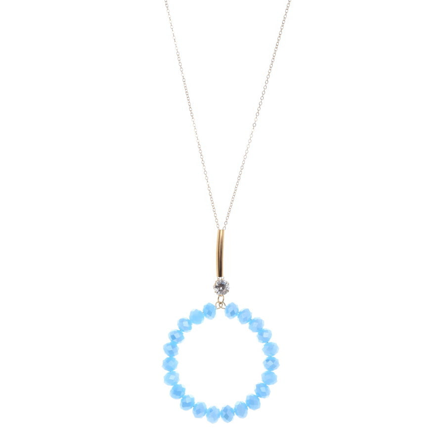 Glass Beaded Circle Pendant Long Necklace