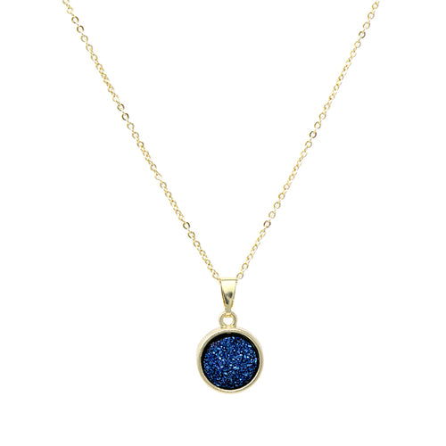 Mini Round Druzy Pendant Short Necklace