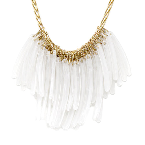 Curved Acetate Bar Fringe Bib Necklace