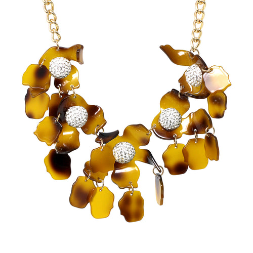 Acetate Flower With Pave Glass Stone Ball Short Necklace
