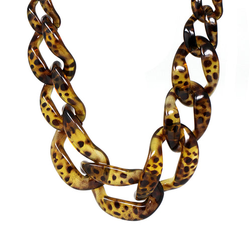 Chunky Animal Print Acetate Link Short Necklace