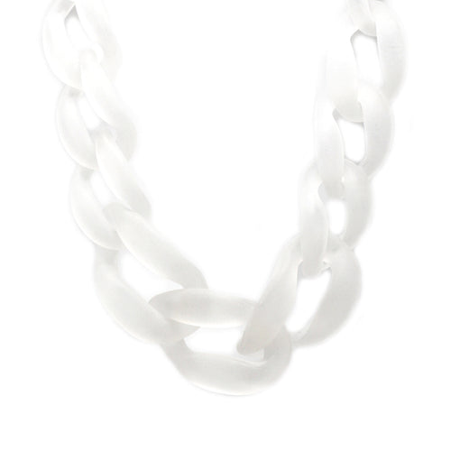 Frosted Chunky Acrylic Chain Link Short Necklace