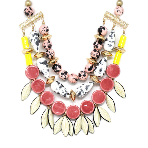 Colorful Ceramic Bead Triple Layered Bib Necklace