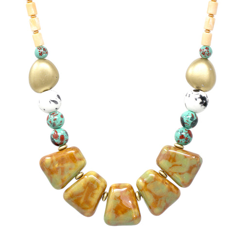 Chunky Ceramic with Gold Wood Beaded Short Necklace