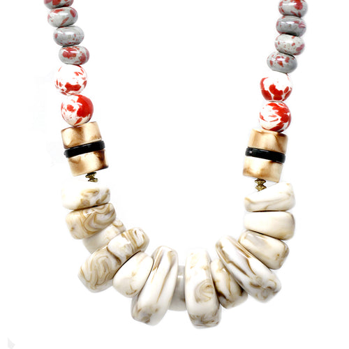 Chunky Marble Acetate Beaded Statement Necklace
