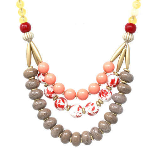 Colorful Bead Triple Layered Bib Necklace