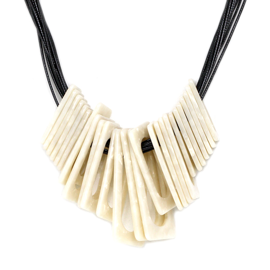 Rectangle Shape Acetate Hoop Sliding Short Necklace