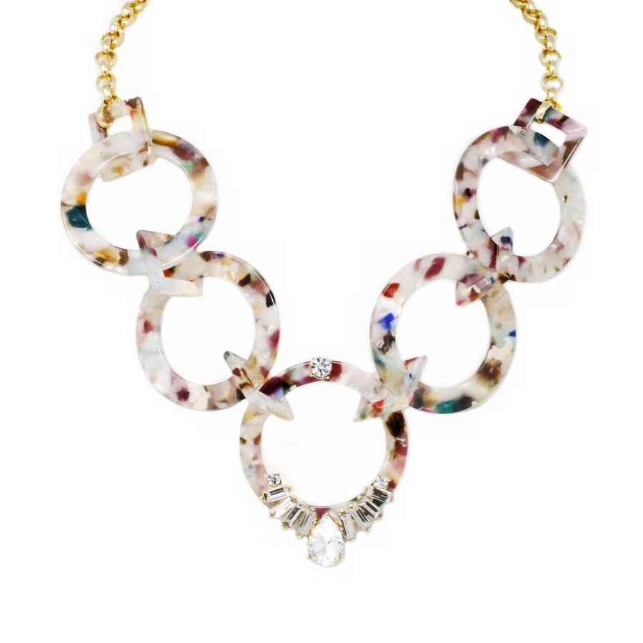 Glass Stone Embellished Acetate Link Statement Necklace