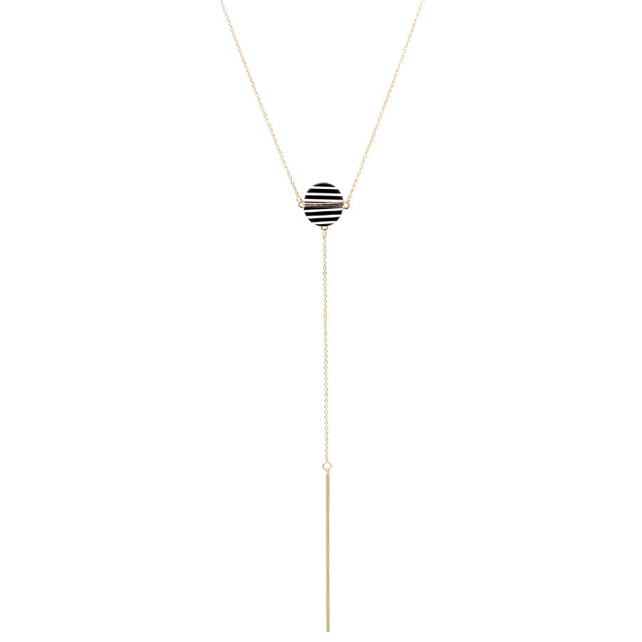 Textured Acetate Disc Pendant With Bar Drop Y-Shape Necklace