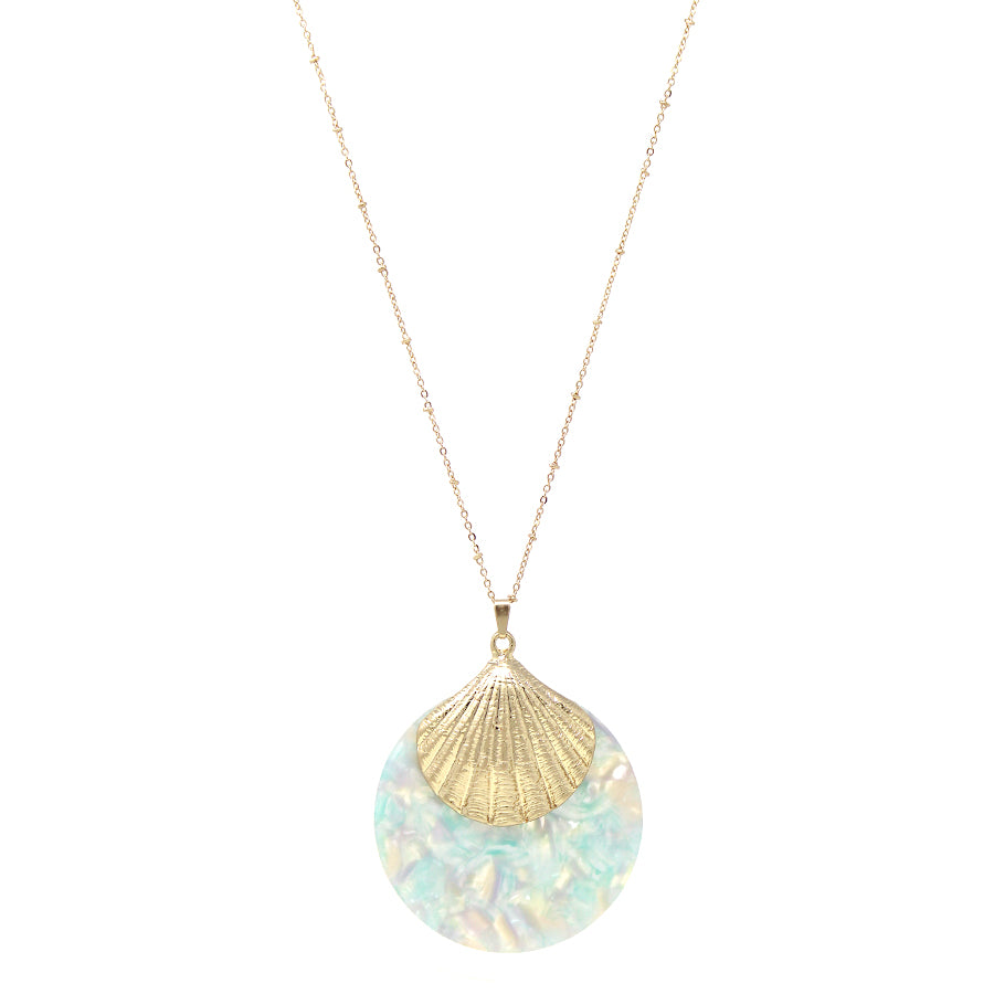 Shell Texture Metal With Acetate Disc Pendant Long Necklace