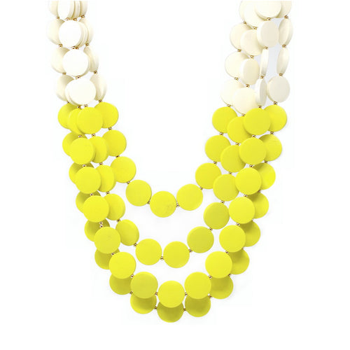 Two Tone Flat Wooden Bead Layered Necklace