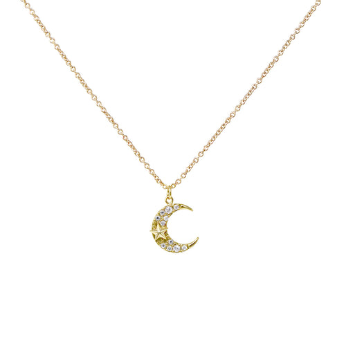 Cubic Zirconia Pave Moon With Star Pendant Short Necklace
