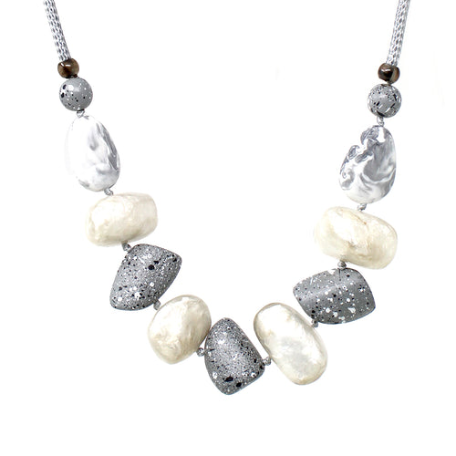 Natural Stone Imitation Acetate Beaded Short Necklace