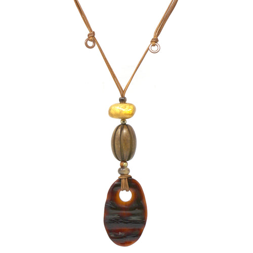 Chunky Wood Bead With Textured Oval Acetate Pendant With Sliding Knot Necklace