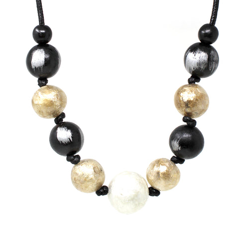 Chunky Acetate With Wood Ball Beaded Short Necklace
