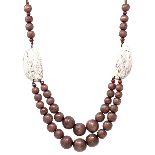 Textured Acetate Wood Beaded Long Necklace