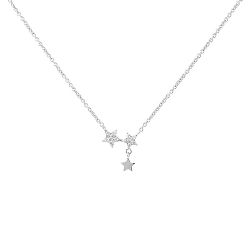 Cubic Zirconia Pave Mini Star Pendant Short Necklace