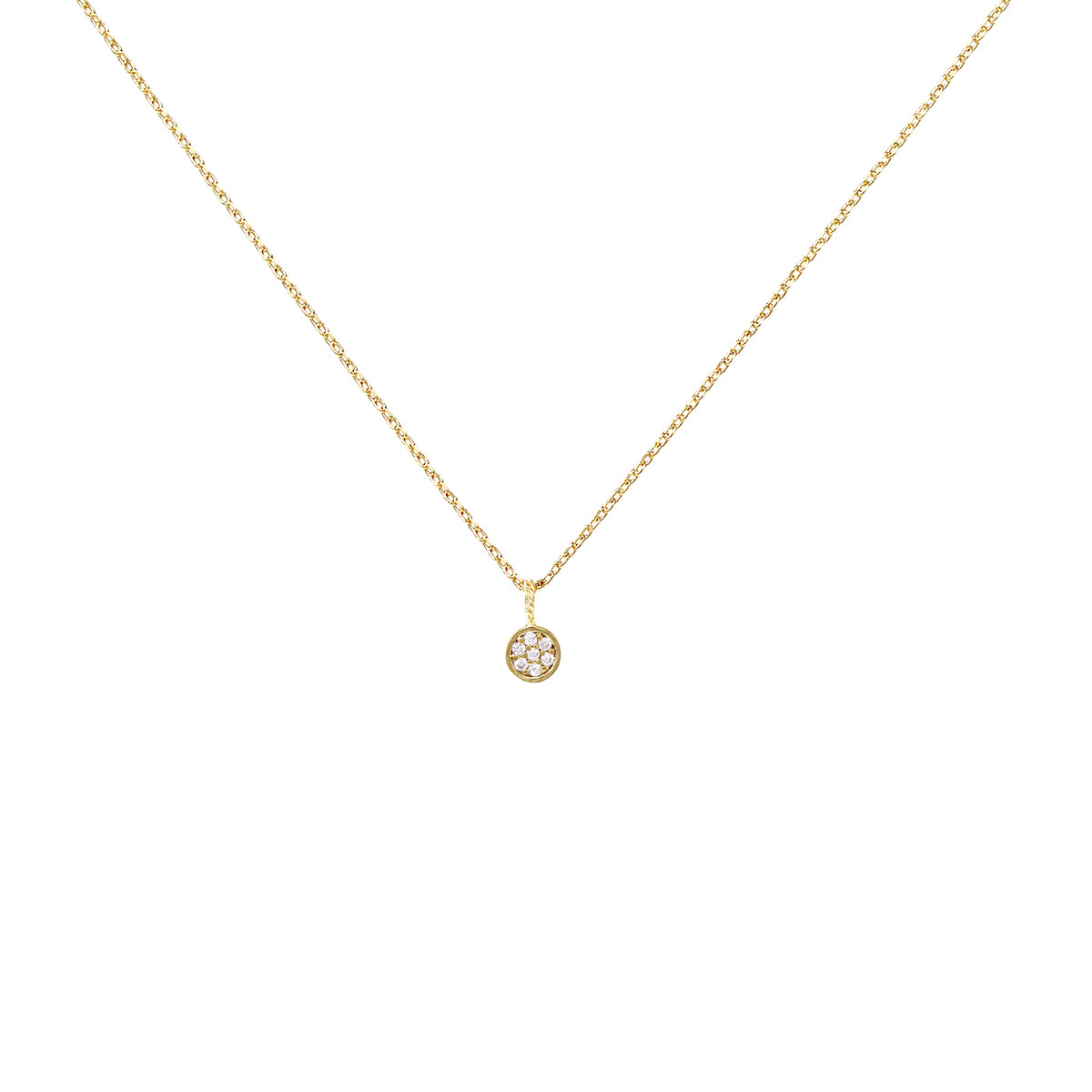 Cubic Zirconia Pave Mini Disc Pendant Short Necklace