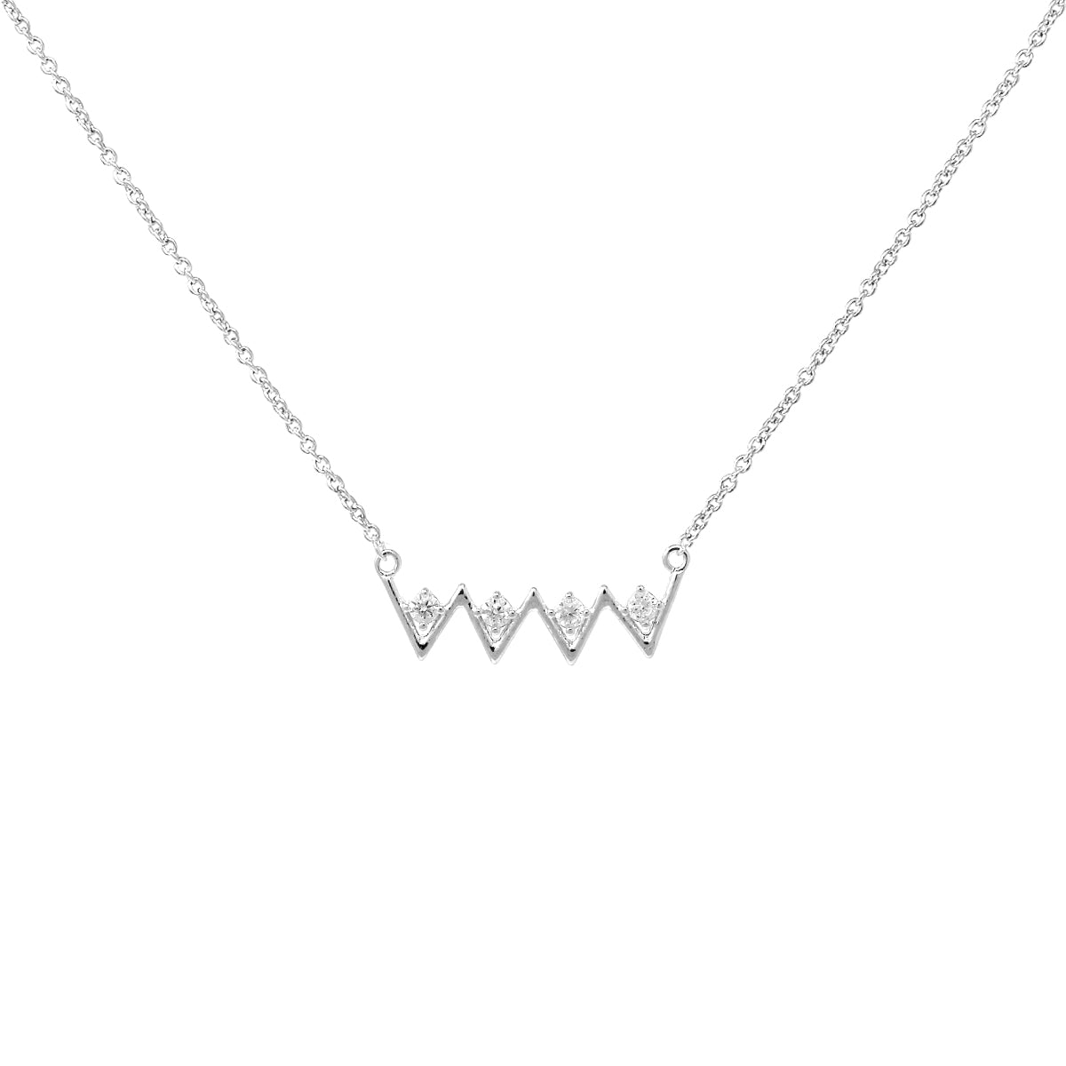 Cubic Zirconia Pave With Chevron Pendant Short Necklace