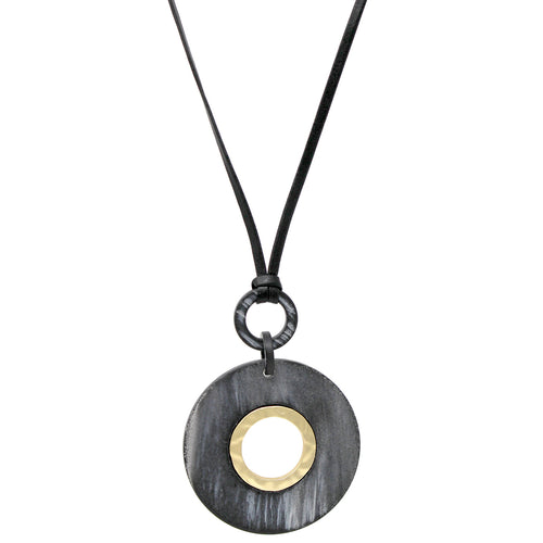 Textured Acetate Disc Pendant Sliding Bead Necklace
