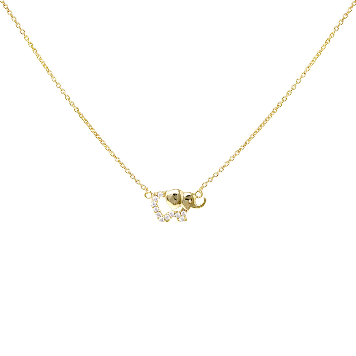 Cubic Zirconia Pave Elephant Pendant Short Necklace