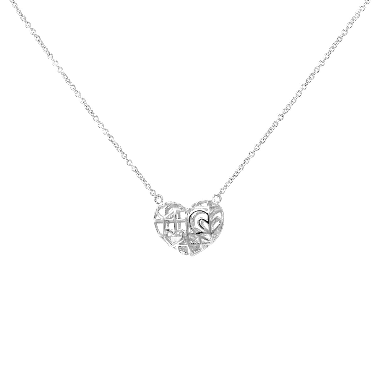 Heart Cage With Cubic Zirconia Pendant Short Necklace