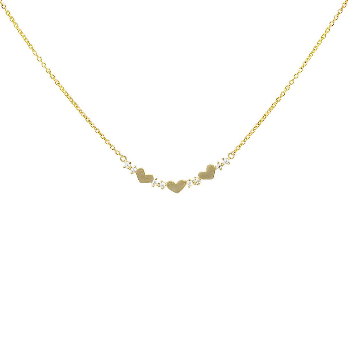 Heart With Cubic Zirconia Pave Bar Pendant Short Necklace