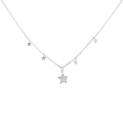 Mini Star With Cubic Zirconia Pave Star Pendant Short Necklace
