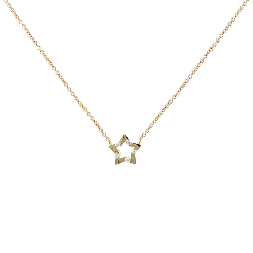 Cubic Zirconia With Star Pendant Short Necklace
