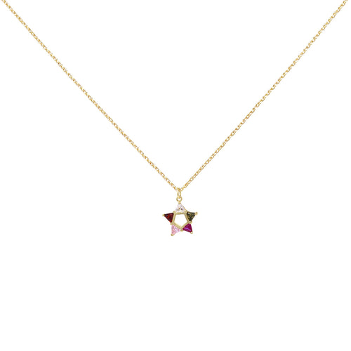 Multi Color Cubic Zirconia Pave Star Pendant Short Necklace