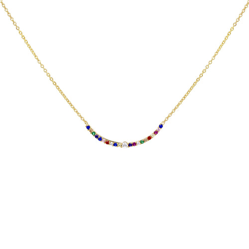 Multi Color Cubic Zirconia Pave Curved Bar Pendant Necklace