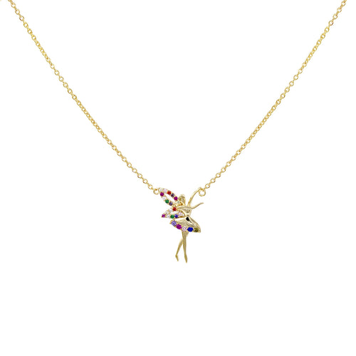 Multi Color Cubic Zirconia Pave Tinker Bell Pendant Short Necklace