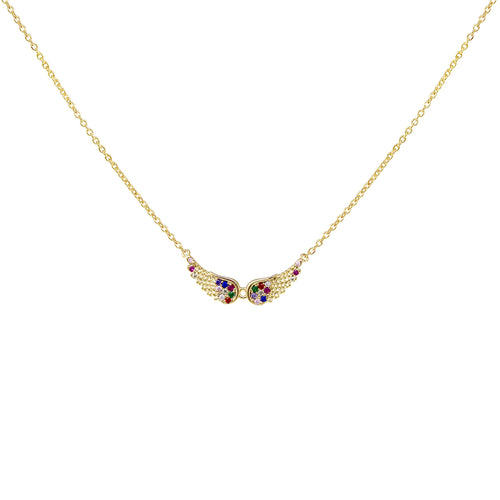 Multi Color Cubic Zirconia Pave Angel Wing Pendant Short Necklace