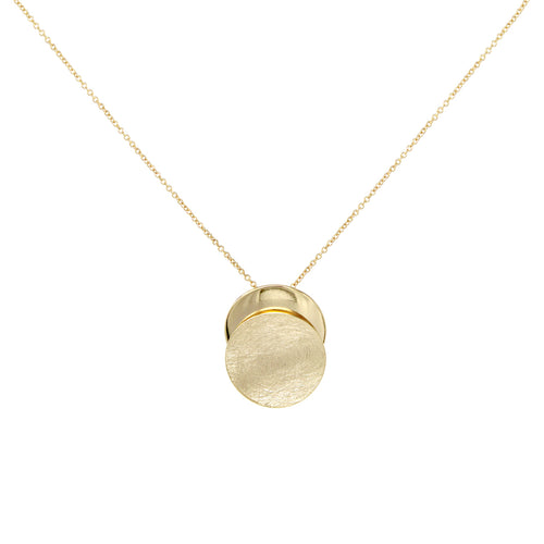 Brushed Metal With Plain Disc Layered Pendant Short Necklace