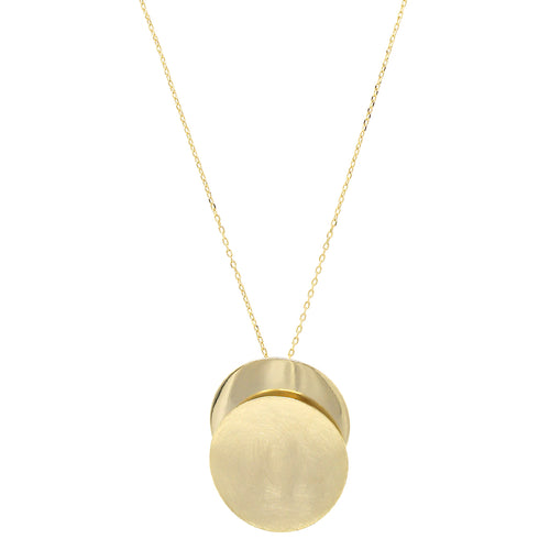 Brushed Metal With Plain Disc Layered Pendant Long Necklace