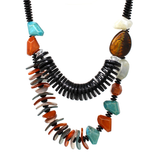 Textured Acetate Beaded Double Layered Necklace