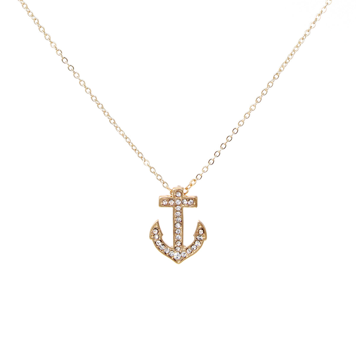 Rhinestone Pave Anchor Pendant Simple Chain Short Necklace