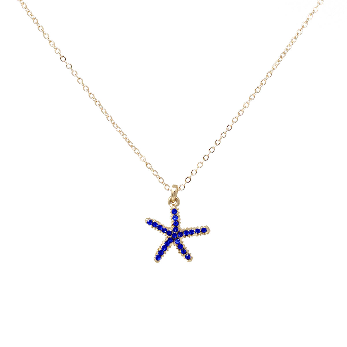 Rhinestone Pave Starfish Pendant Simple Chain Short Necklace