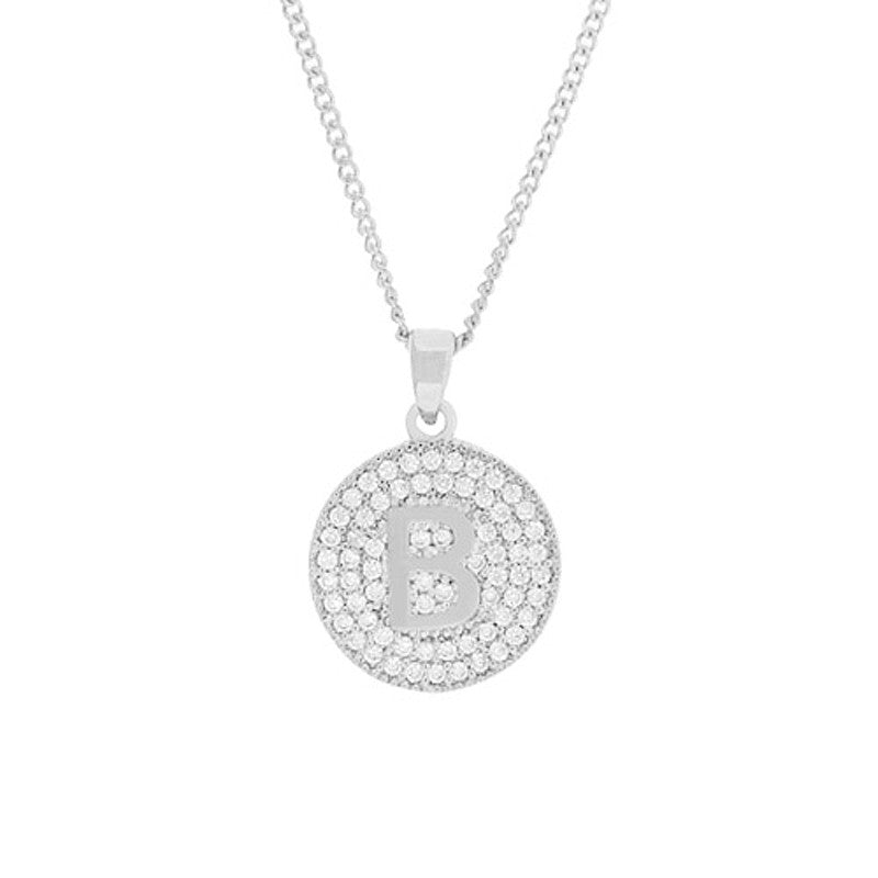 Cubic Zirconia Initial Necklace - Rhodium/Clear