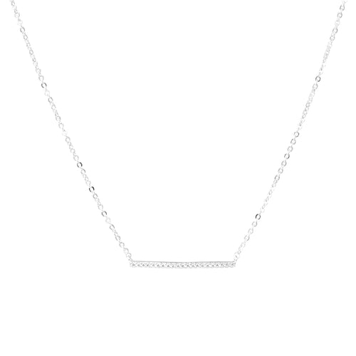 Gold Dipped Cubic Zirconia Bar Pendant Short Necklace
