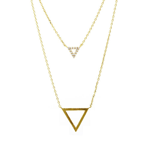 Cubic Zirconia Double Triangle Charm Short Layered Necklace
