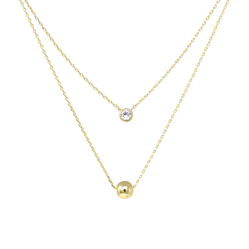 Cubic Zirconia And Ball Pendant Double Layered Necklace