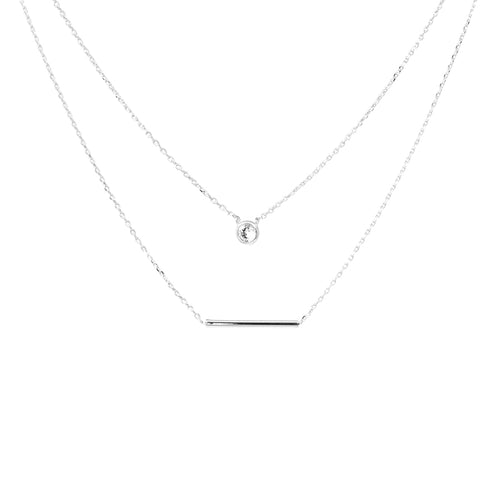 Cubic Zirconia And Bar Pendant Double Layered Necklace
