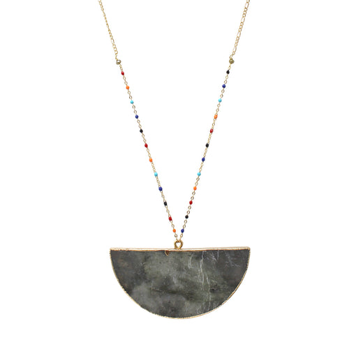 Natural Stone Pendant With Color Coated Ball Chain Trimmed Long Necklace