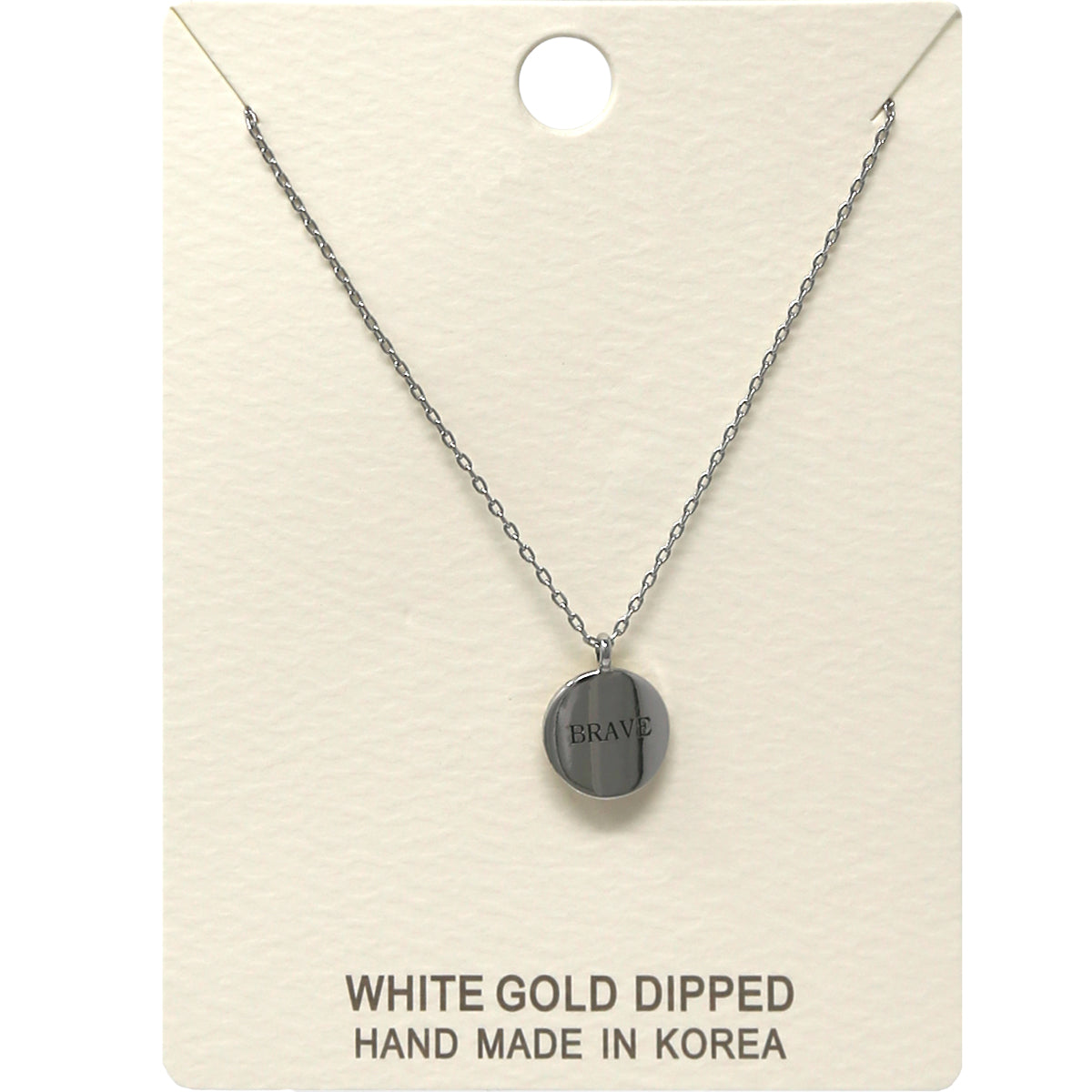 BRAVE Engraved Disc Pendant Short Necklace