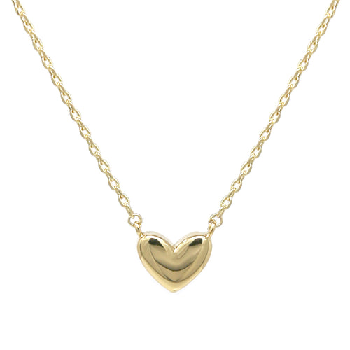 White Gold Dipped Mini Heart Pendant Metal Necklace