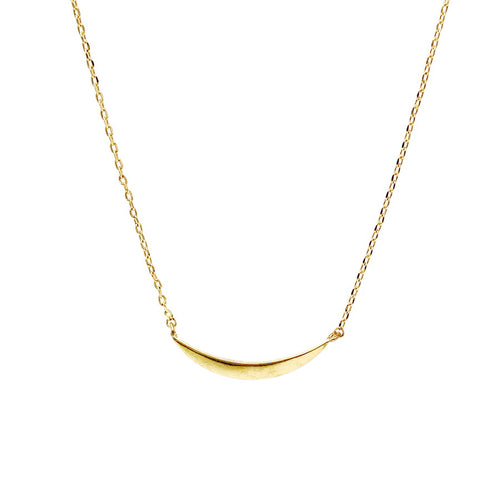 Gold Dipped Curved Bar Simple Chain Necklace