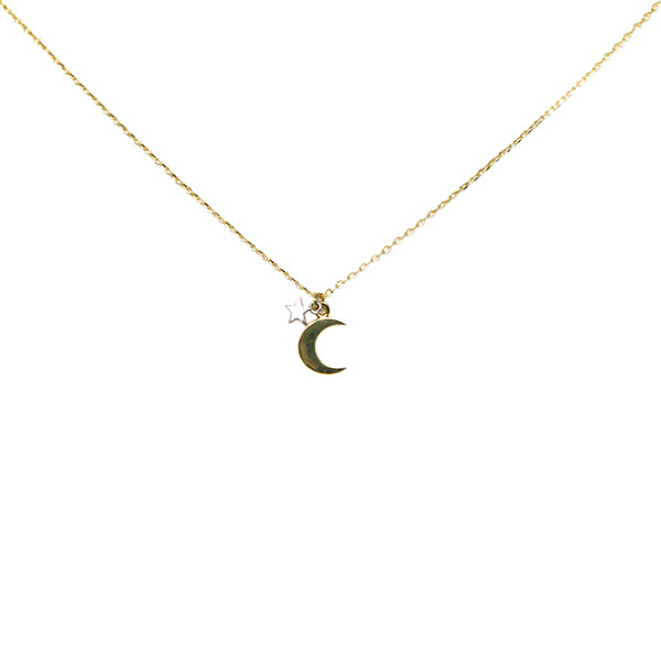 Gold Dipped Moon And Star Simple Chain Necklace